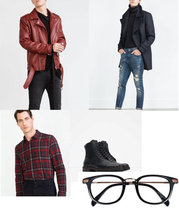Biker de cuero marrón, pantalones pitillo vaqueros, camisa de cowboy, botas militares y gafas