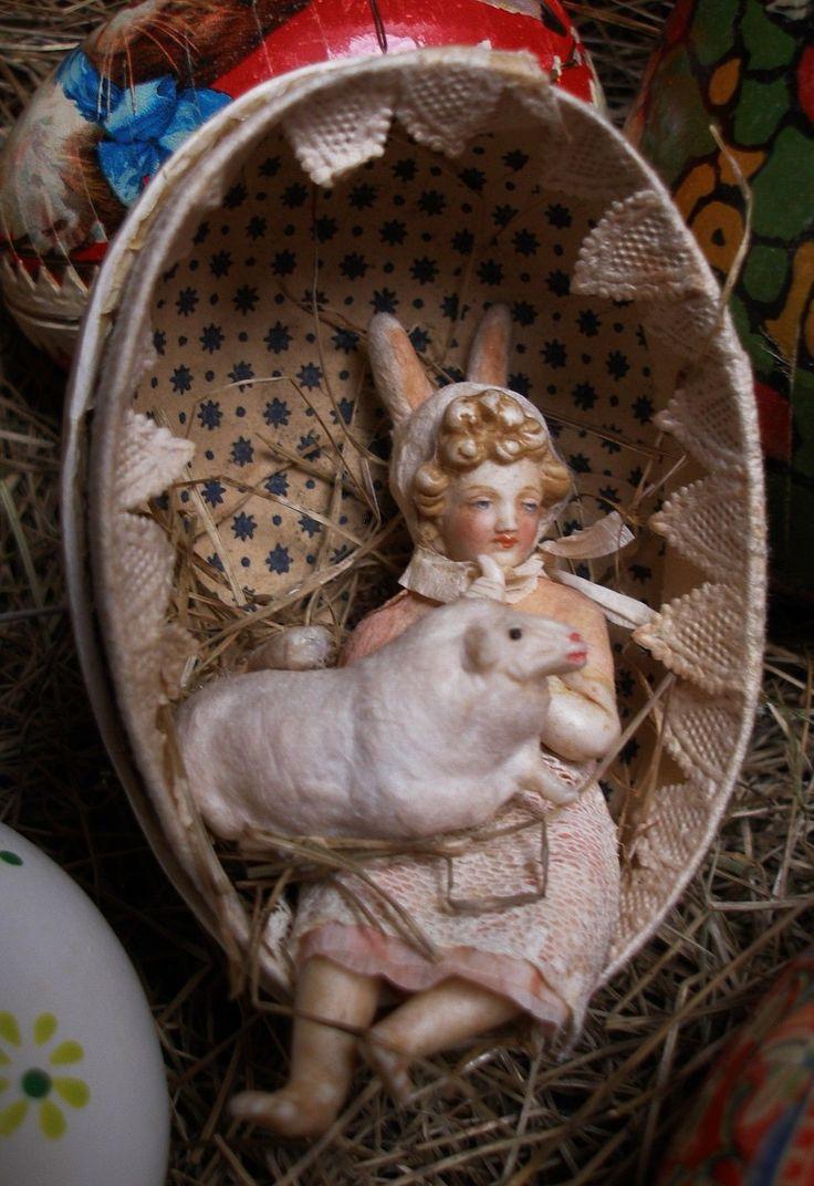 Hasen Mädchen und Osterlamm, Porzellan | eBay