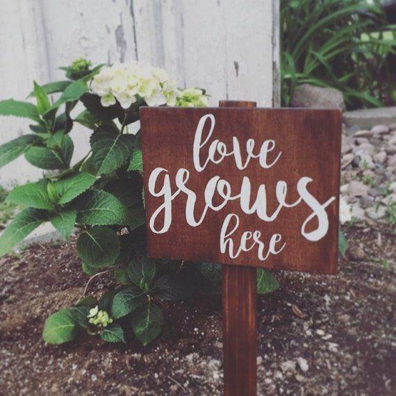 """Garden Sign, """"love grows here"""", Wooden Garden Sign, Plant Sign, Rustic Sign, Outdoor Decor, Porch, O"""