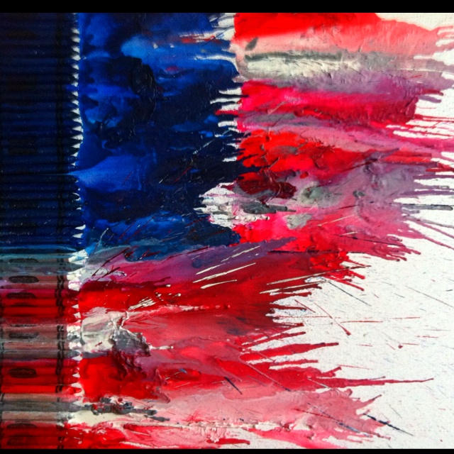 American flag crayon art