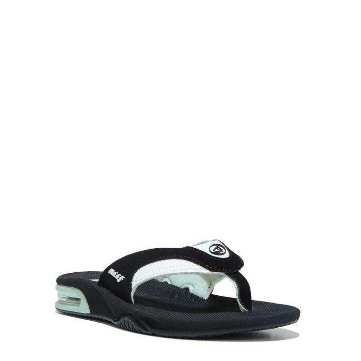 Reef Women's Fanning Flip Flop Shoes (Black/Mint) - 8.0 M