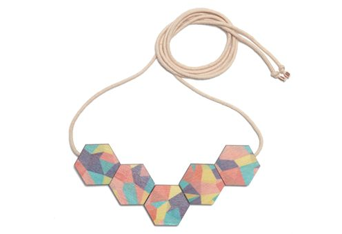 Printed Wooden Fractal Necklace - Holiday