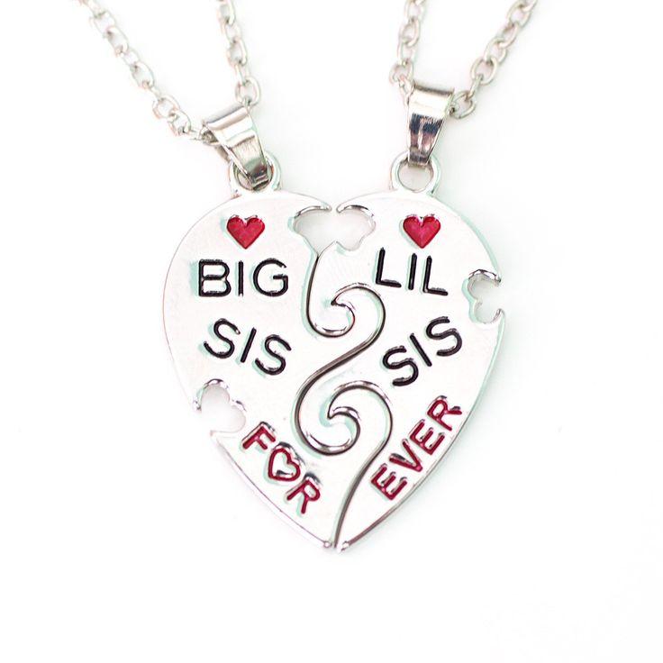 Halsketten Big Sis - little Sis. Partneranhänger.  Um diese Anhänger zu etwas ganz persönlichen zu machen,  können Sie diese gerne auf der Rückseite mit einer  aufwändigen Lasergravur versehen lassen.  #Anhänger #Lieblingsmensch #Geschenk #Liebe #Partner #Schmuck #Gravur #Geschwister #Bruder #Schwester
