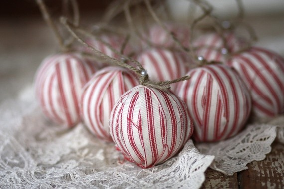 Fabric wrapped styrafoam balls with twine. As ornaments ...