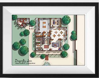 DragonFly Inn von Gilmore Girls TV-Show MidCentury von DrawHouse