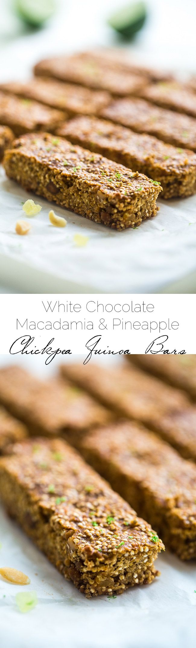 Tropical Chickpea & Quinoa Homemade Protein Bars - Quinoa, chickpeas, white chocolate, macadamia nuts, pineapple and fresh lime come together in these easy, gluten free and healthy snack bars that taste like summer! | Foodfaithfitness.com | @FoodFaithFit