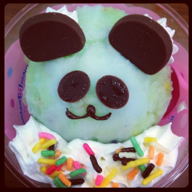 Baskin Robbins in Japan. Happy Doll cup with panda face