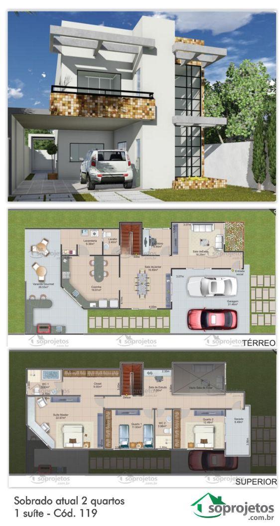 Para terreno de 10 x 25 metros, este sobrado com garagem para dois carros tem 3 quartos sendo 1 suíte. Ampla sala de estar, sala de jantar, escritório, cozinha lavabo, lavanderia e varanda gourmet. A suíte máster tem amplo closet e banheiro com banheira. No andar superior, além dos quartos, temos uma sala de estudo e uma circulação com vistas para a sala de estar, que tem pé direito duplo, proporcionando um maior conforto térmico na casa. Complementa a segundo andar uma ampla sacada