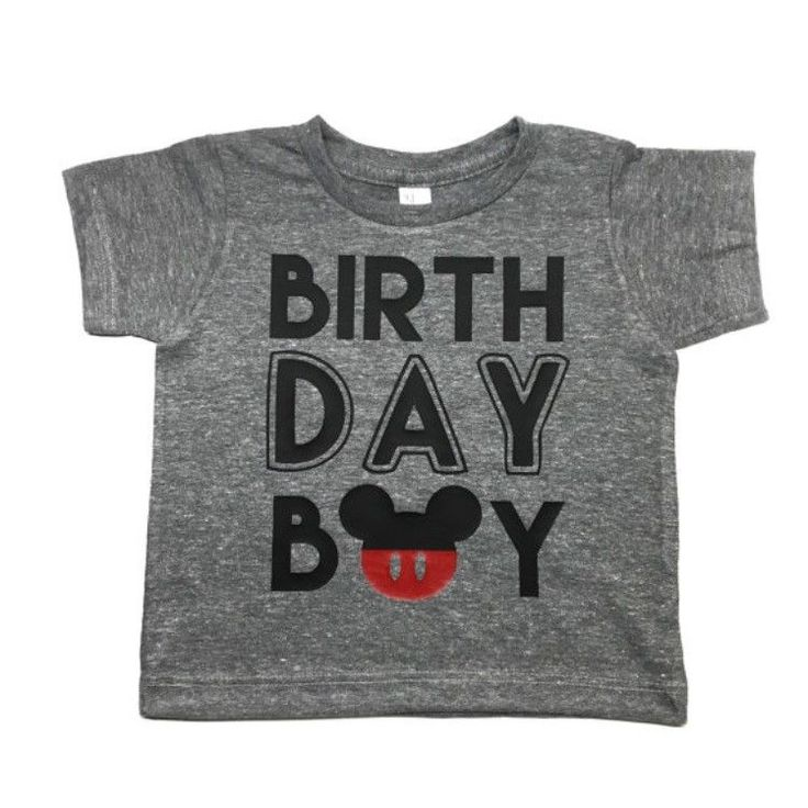 "This listing is for a baby boy first birthday shirt! The ""o"" in ""boy"" is a Mickey head to go with your little ones Mickey birthday theme! All letters/numbers are professionally heat pressed onto a sho"