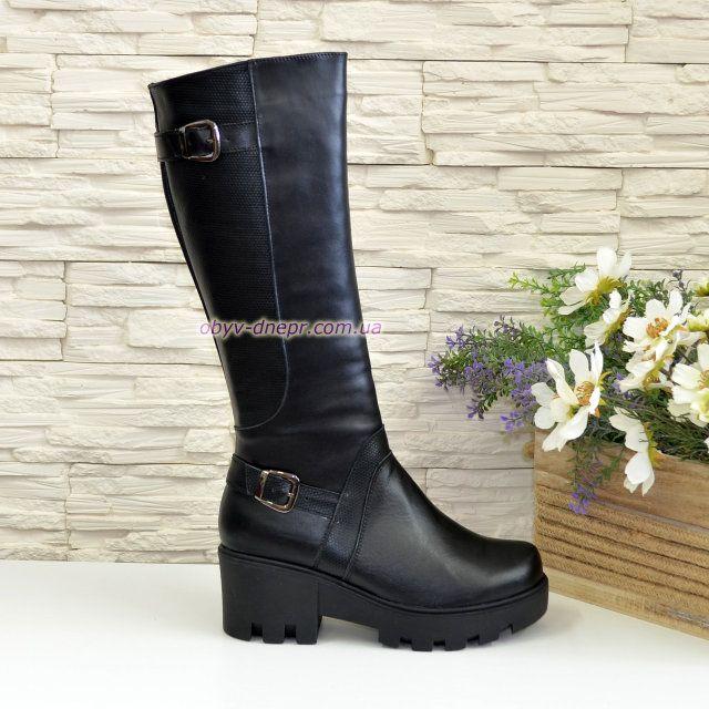7f815cb89943 Женские кожаные зимние сапоги на утолщенной тракторной подошве в ...