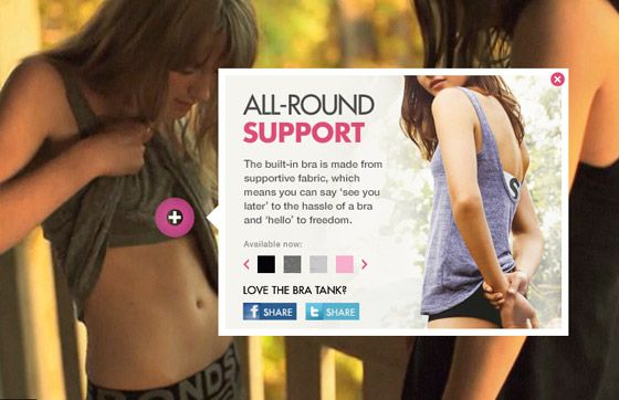 Bonds Bra Tank Interactive Video: We created an interactive utility to highlight the new range of Bonds Bra Tanks, entertaining users while customising their shopping experience.