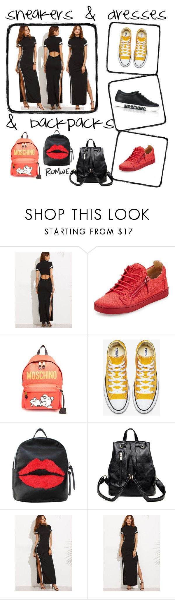 """""""romwe sneakers&dresses"""" by simplybae ❤ liked on Polyvore featuring Giuseppe Zanotti, Moschino and T-shirt & Jeans"""