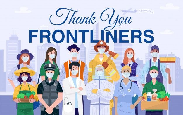 Thank You Frontliners Concept Various Occupations People Wearing Protective Masks Hero Poster Protective Masks Frontliners Heroes Thank You Poster