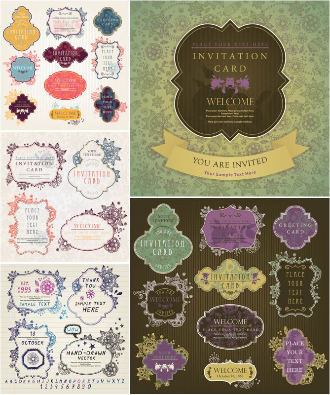 design printable invitation cards online free%0A Vintage invitation card templates vector