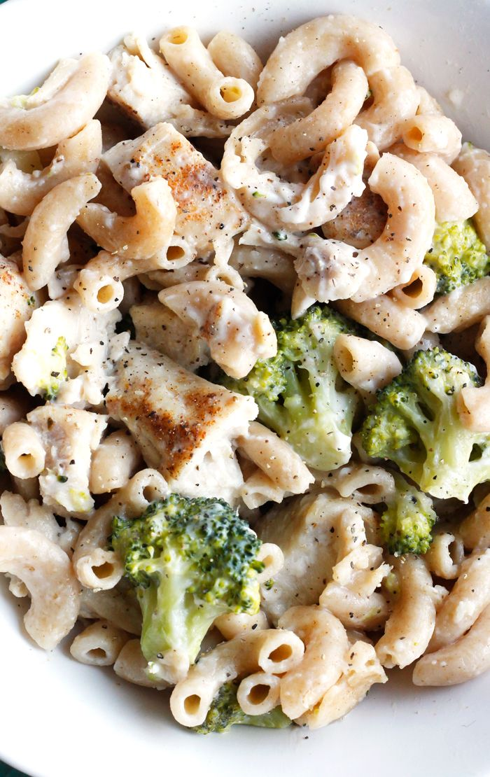Lightened Up Chicken and Broccoli Mac and Cheese - with just 5 main ingredients, this healthier mac and cheese recipe is one of my new favorite dinners!