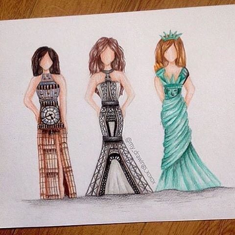 LOOK Closely At The Dresses! So Creative. Whats Your Favorite? Big Ben Eiffel Tower Statue of Liberty. | Art By @my_drawings_xoxox #allforarts by allforarts