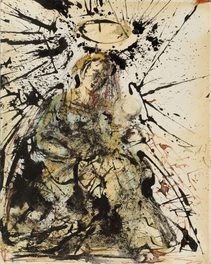Salvador Dalí takes quite an abstract stance here with his 'Madonna and Child'. Created in 1958, the mixed media gouache measuring a handsome 14,3 x 11,5 cm, shows great style awareness of Jackson Pollock's action painting and Tachisme, its French equivalent. Galerie des Modernes will present this interesting work on paper during the next Salon du dessin, taking place at Palais Brongniart, from 22 - 27 March 2017.