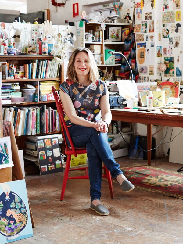 Melbourne artist and illustrator Sandra Eterovic in her Collingwood studio.  Photo - Sean Fennessy for thedesignfiles.net
