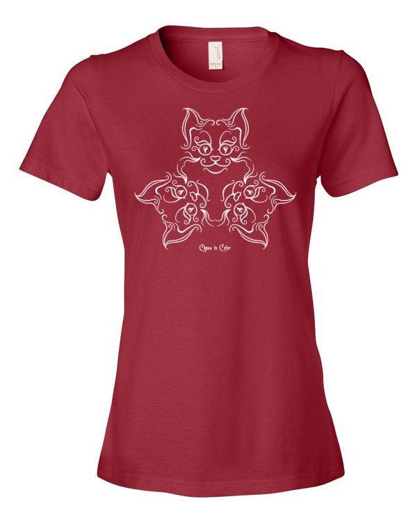 Victorian Cat Triad Design Women's Short Sleeve T-shirt