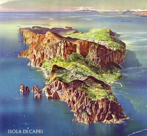H.C.Berann, Isola di Capri