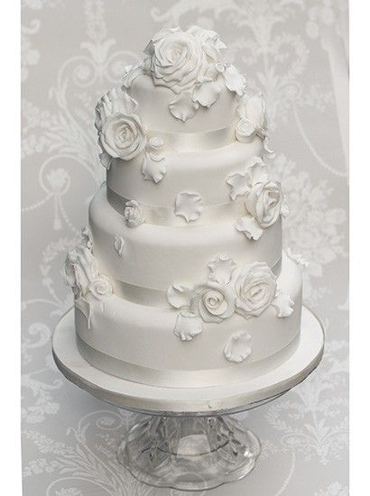 The Liggy's Cake Company - Lovely traditional white on white wedding cake.   ᘡղbᘠ