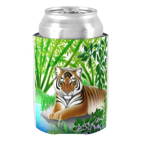 Peaceful Young Tiger in Jungle Can Cooler-Original fine art design of a young Bengal tiger in a bamboo jungleiby artist and designer Carolyn McFann of Two Purring Cats Studio printed on a quality can cooler for big cat fans