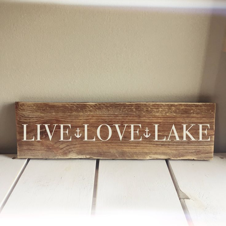 Live, Love, Lake Lake house Sign - Hand painted, Reclaimed Wood Sign by HahnHarbour on Etsy