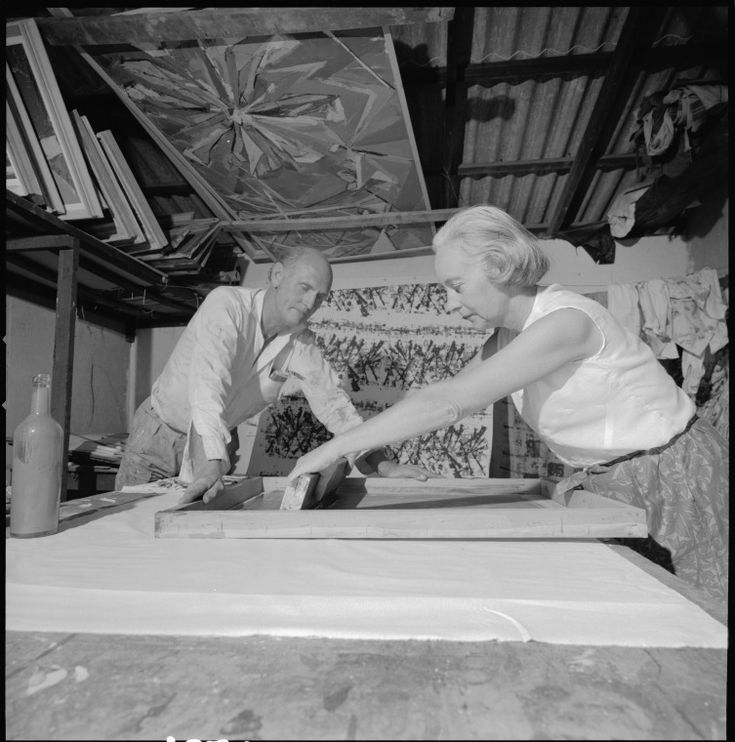 345943PD: Artists Guy and Helen Grey-Smith in their studio, 1968. http://encore.slwa.wa.gov.au/iii/encore/record/C__Rb2433353__S345942PD__Orightresult__U__X3?lang=eng&suite=def