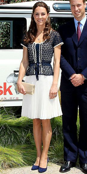 Kate Middleton in a navy and ivory outfit from Whistles | Perfect for so many different occasions.