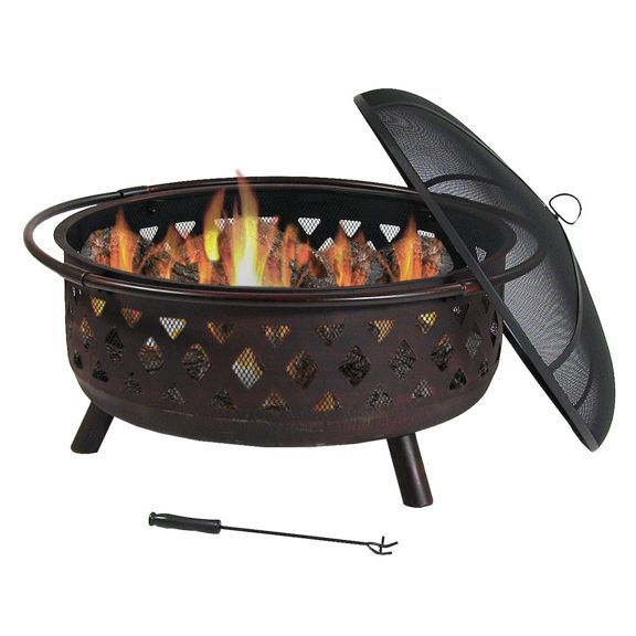 Sunnydaze Large Crossweave Outdoor Fire Pit With Spark Screen And Poker Round Wood Burning Patio Firepit Bowl 36 Inch Bronze Cool Fire Pits Wood Burning Fire Pit Wood Burning Fires