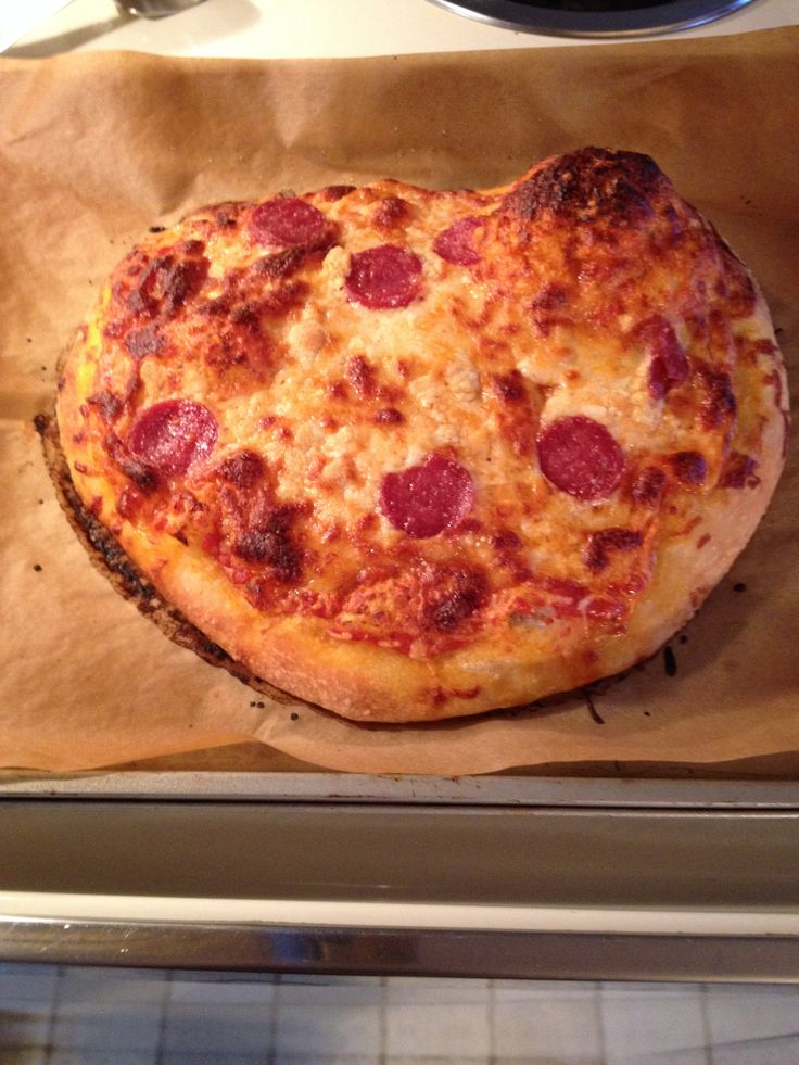Homemade Pizza - my delicious masterpiece :) 400 degrees for 20-25 min after u let the dough rise - add your favorite sauce, sprinkle with cheese & any toppings!