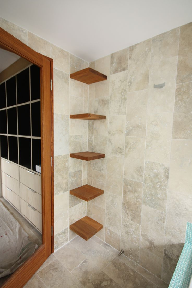 Floating Corner Bathroom Shelves. Great Storage Idea and feature.