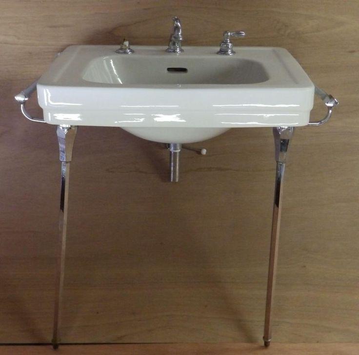 Vintage White Porcelain Bathroom Sink Chrome Brass Legs Towel Bars #2860 14