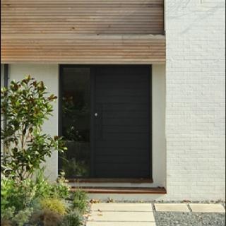 Kathryn Tyler house - black door.