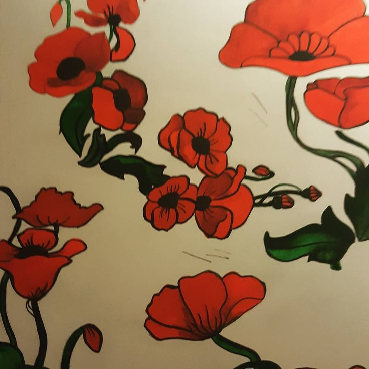 Painting for a new scarf Art Neauveau inspiration #andreatincu #scarves #painting #lovejob #poppies #red #instadaily #instagood #fashion #style #artnouveau