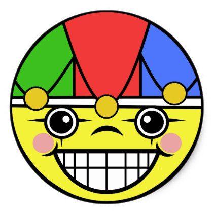 Joker Face Classic Round Sticker  $5.25  by templeofswag  - custom gift idea
