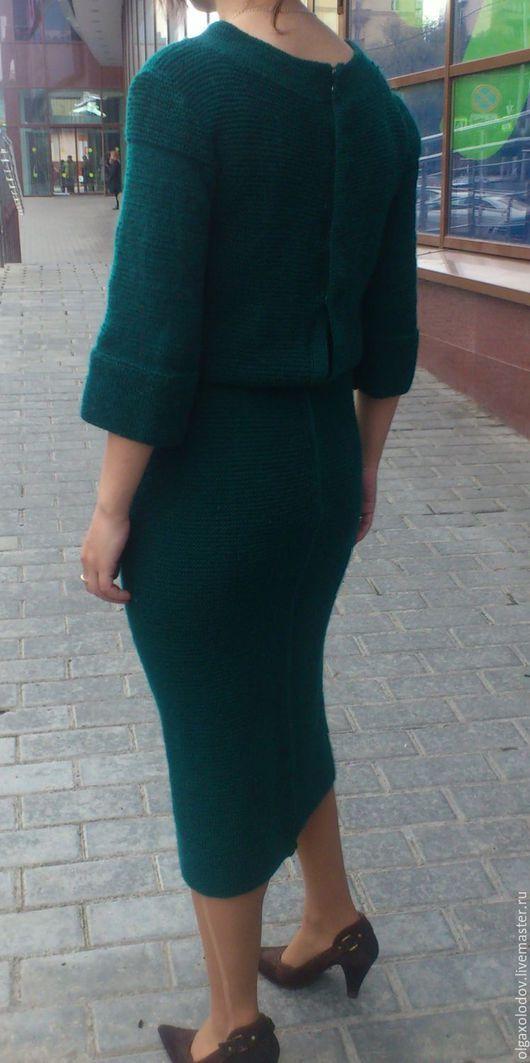 Платья ручной работы. Ярмарка Мастеров - ручная работа. Купить платье вязаное. Handmade. Тёмно-зелёный, платье ручной работы
