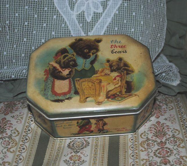 Antique TIN BOX The Three BEARS Cote d'Or di villavillacolle su Etsy