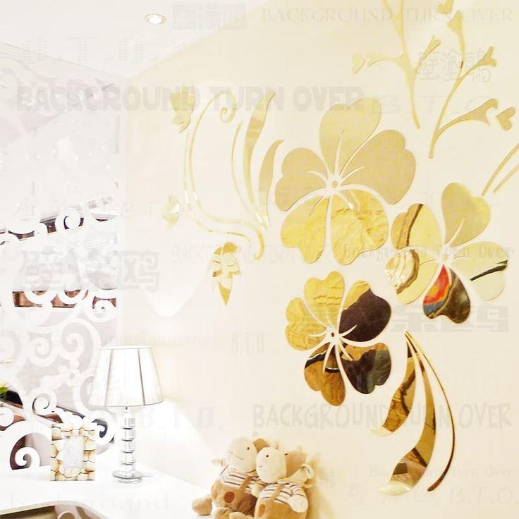 Aliexpress.com: Kup Hot sprzedam DIY wiosna natura kwiat hibiskusa lustro dekoracyjne naklejki ścienne home decor ścienna 3d dekoracji pokoju kalkomanie ścienne R076 od zaufanego wall sticker dostawcy na BACKGROUNDTURNOVER Official Store