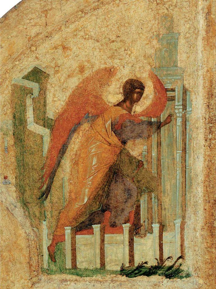 Андрей Рублёв - Царские врата иконостаса, деталь (Архангел Гавриил). 1425-1427