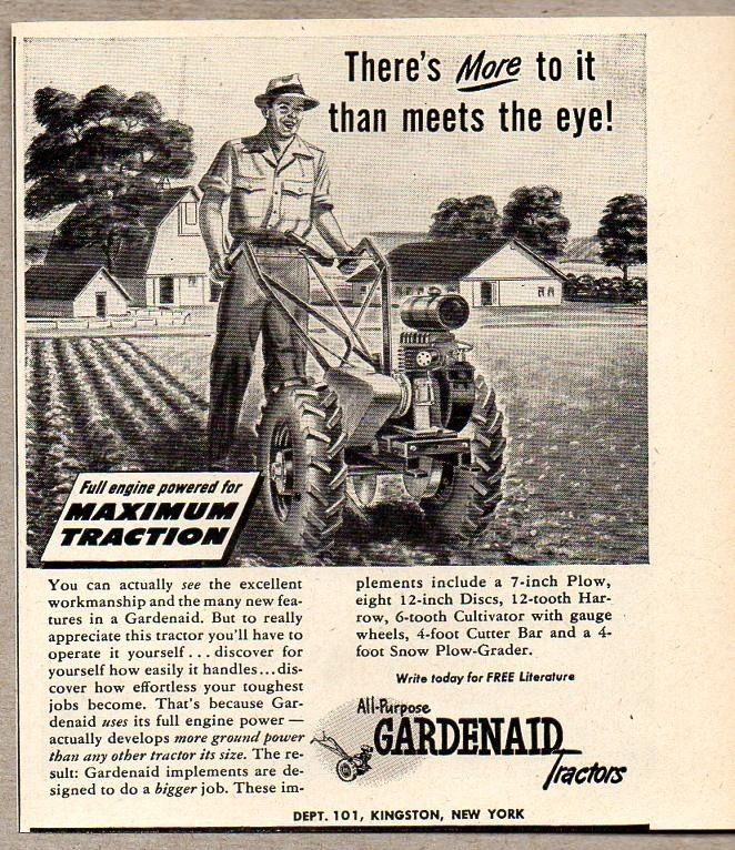 1947 Print Ad Gardenaid Small Tractors Farmer Plows Garden Kingston,NY #VintageAd