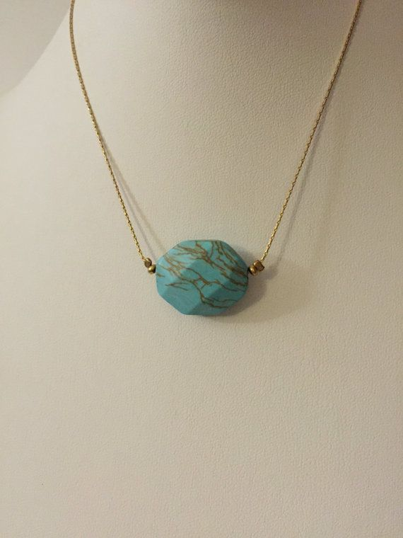 Turquoise Nonagon Stone with Gold Anchor Chain by JEMgoods on Etsy
