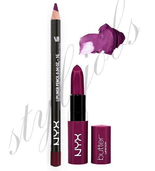 NYX Butter Lipstick HUNK BLS05 and Slim Lip Liner Purple Rian SET #NYX