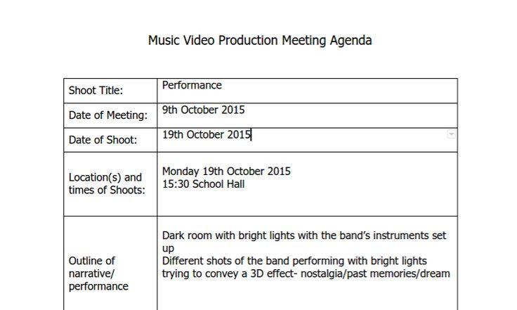 PLANNING We used Microsoft Word to create Production Meeting - meeting agenda sample in word