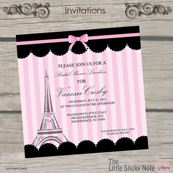 paris themed bridal shower invitations paris awesome