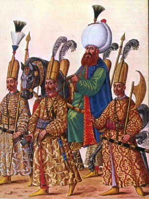 Ottoman Sultan surrounded by peiks (messengers) and solak guards.