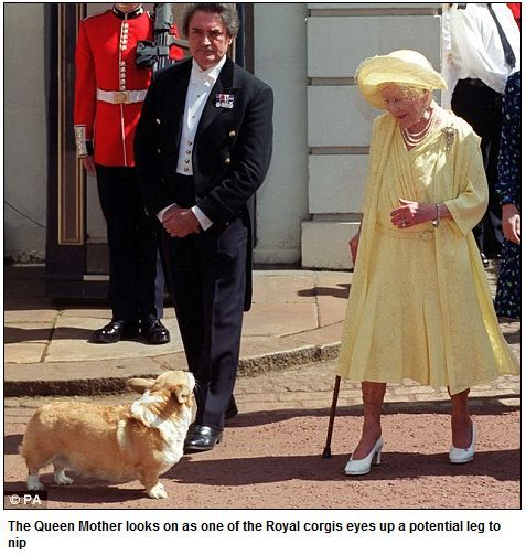 The Queen Mother and Corgi