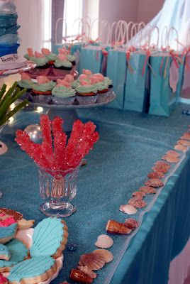 Under the sea / little mermaid party -- great idea with rock