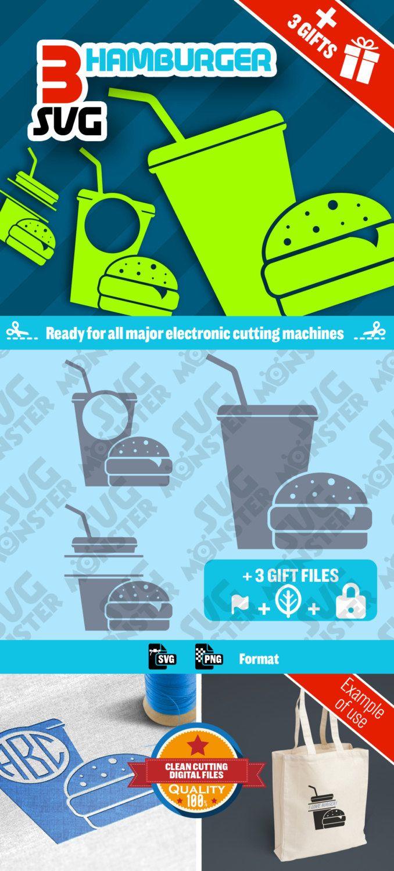 3 SVG HAMBURGER svg Bundle • Cut Files for Electronic Vinyl Cutter • png • Cricut Design Space, Silhouette FASTFOOD Burger Decoration • 054 de la boutique SVGmonster sur Etsy