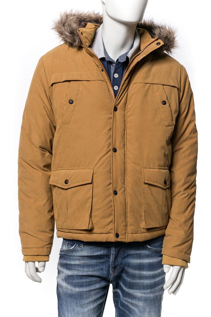 Devergo férfi téli kabát mustársárga